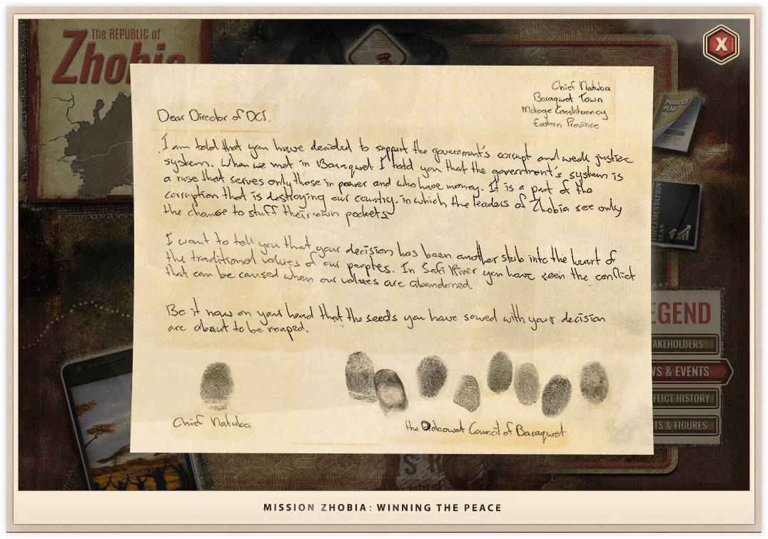 Mission Zhobia in-game article of a handwritten note