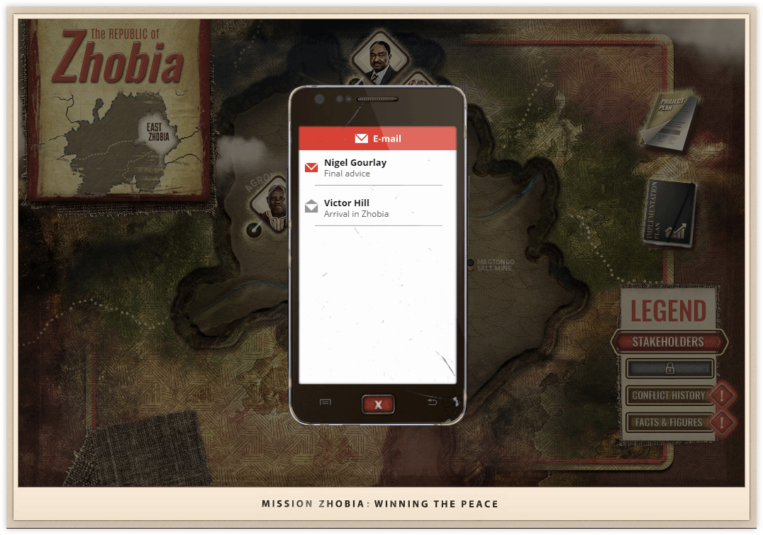 Mission Zhobia in-game phone showing list of e-mails