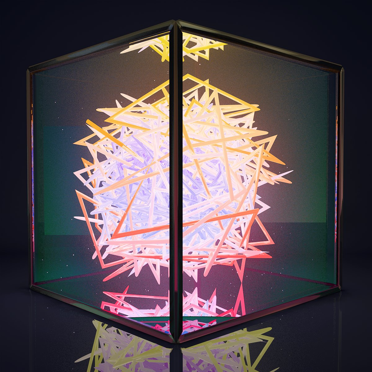 3D render glowing neon chaotic light shape contained in a glass box