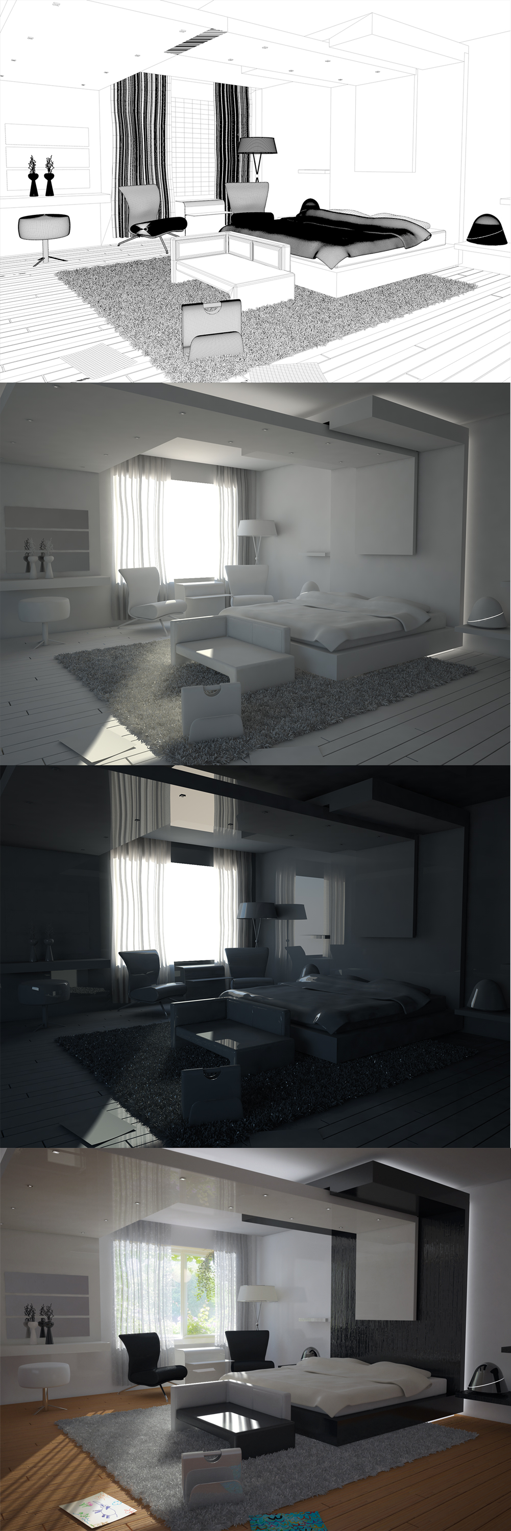 3D render making off image showing how a 3D bedroom was created in 4 stages
