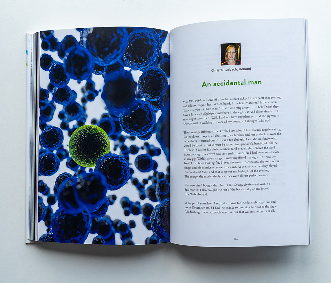 Marillions fans book spread Christa Rusbach 3D render with a single green virus among a whole lot of blue viruses
