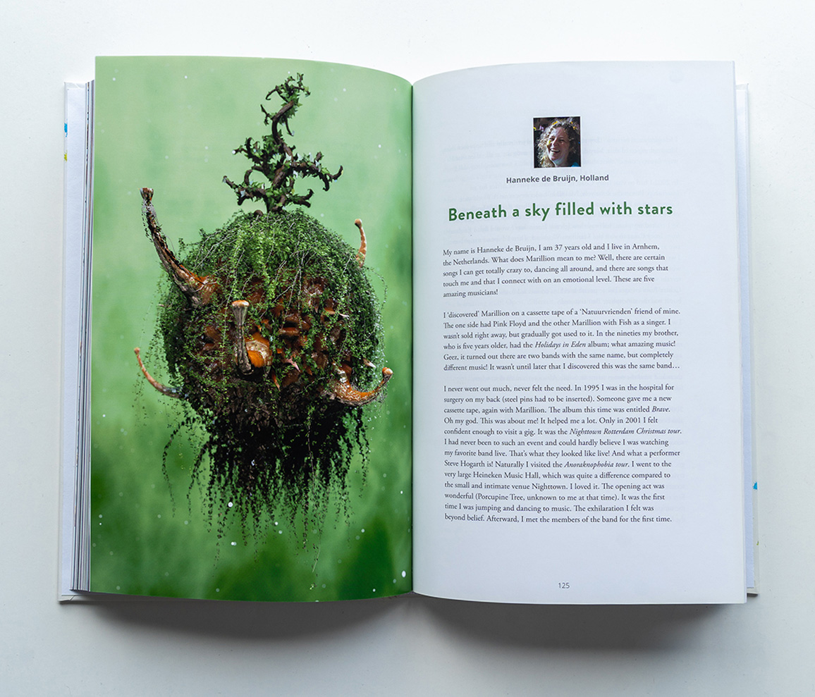 Marillions fans book spread Hanneke de Bruijn 3D render with virus covered in leaves and branches