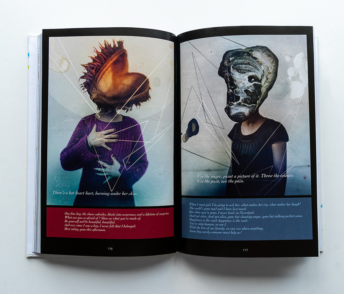 Marillions fans book spread Hajo Muller Illustrations of humans having strange objects as heads