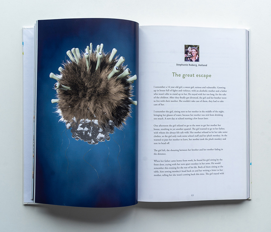 Marillions fans book spread Stephanie Ruberg 3D render with stuffed animal looking virus