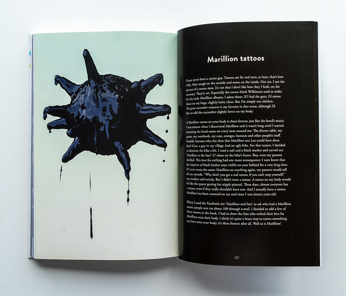 Marillions fans book spread Tattoos 3D render with a virus covered in ink