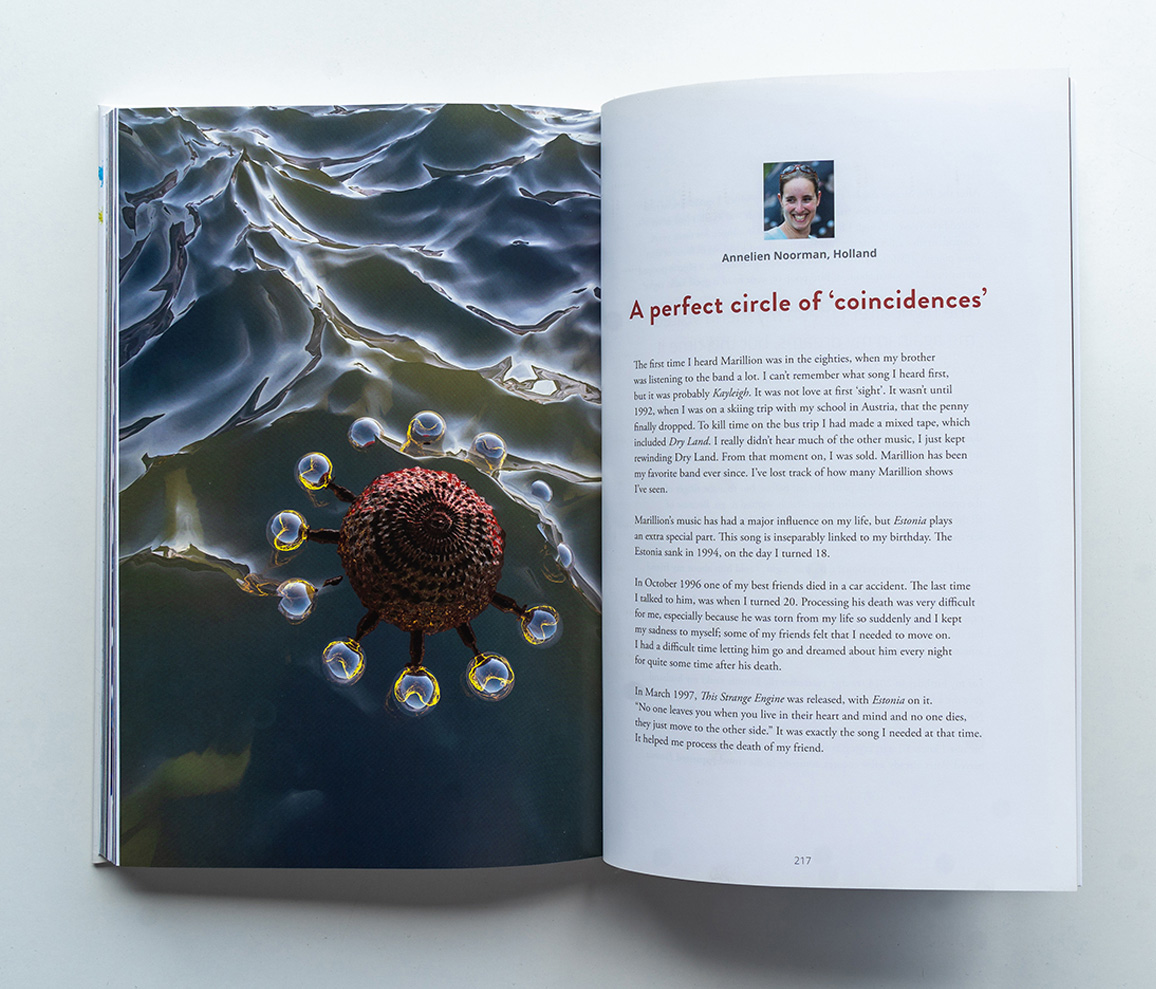 Marillions fans book spread Annelien Noorman 3D render with a virus floating in the sea
