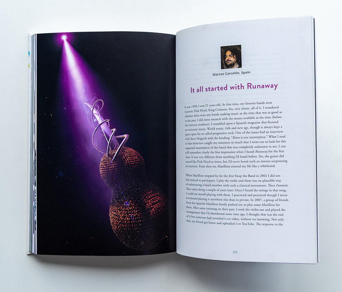 Marillions fans book spread Marcos Marcelen 3D render with abstract violin in the dark