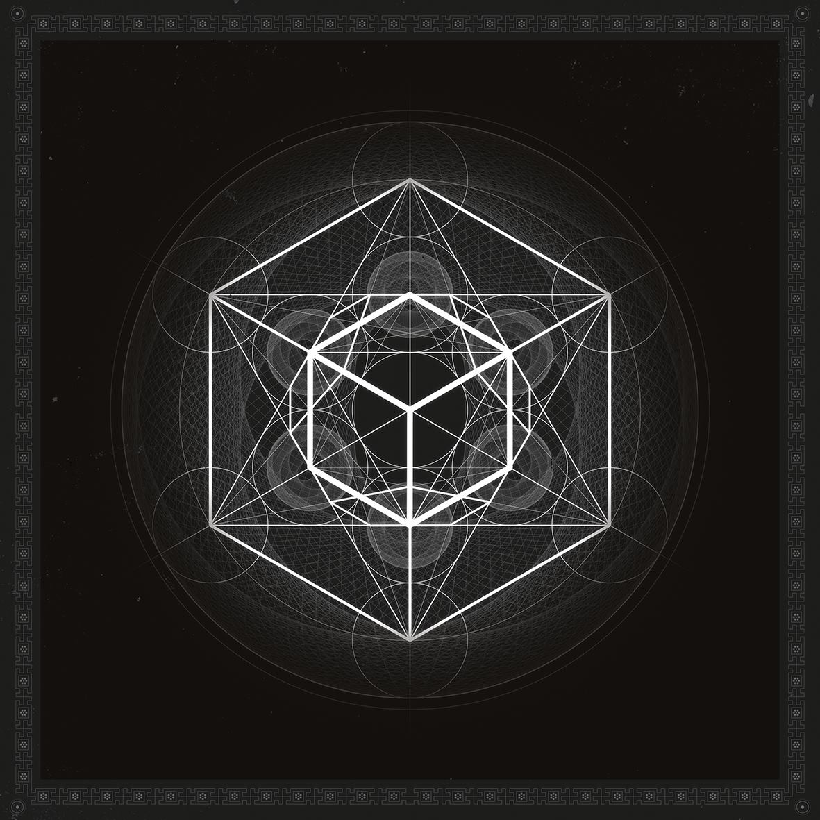3D render metatron with complex shapes and geometry