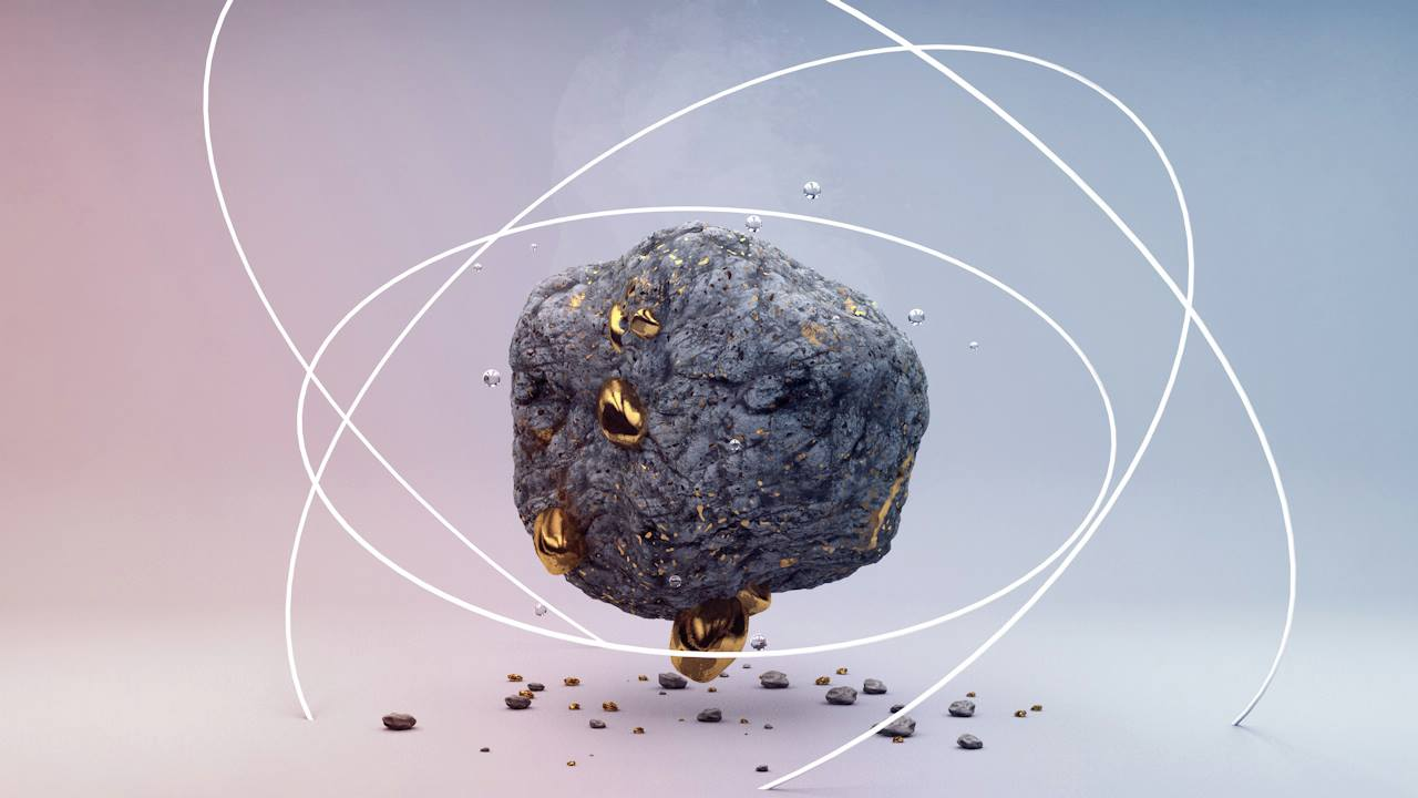 3D render floating ash rock with gold chunks and pebbles on the ground