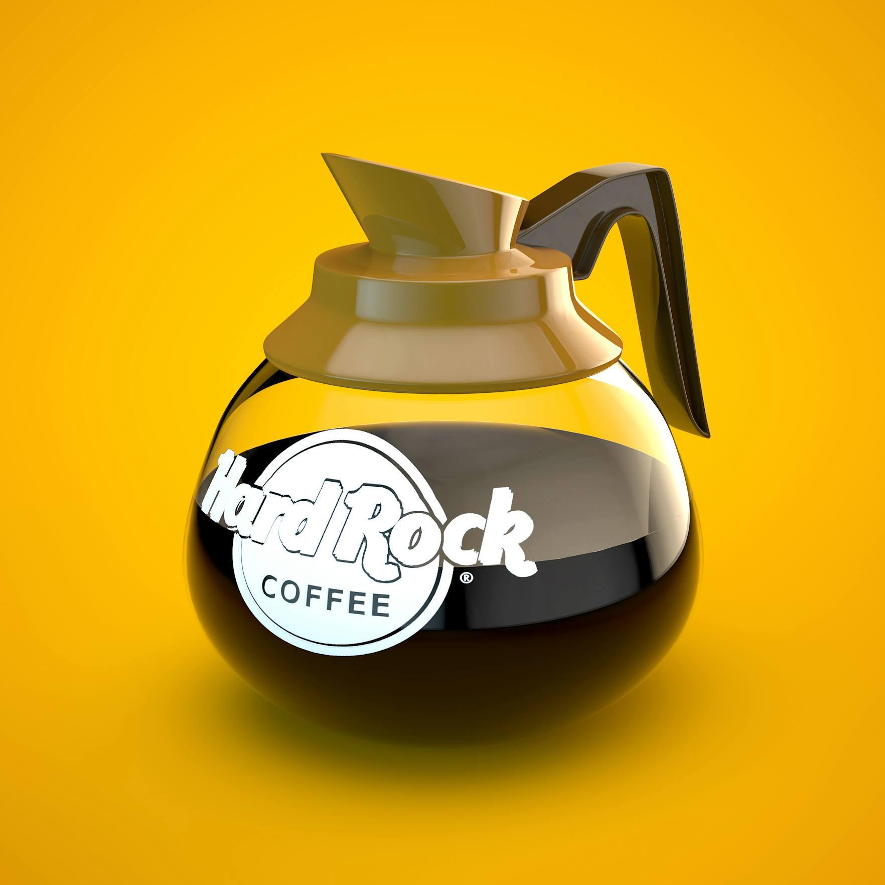 3D render hard rock cafe american coffee jar