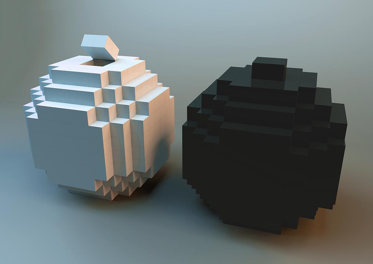 3D render pixel voxel sandshakers pepper and salt grain shaped