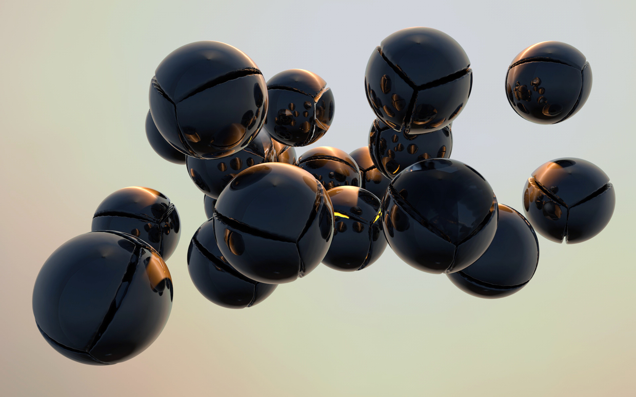 3D render abstract floating metal balls with cut outs
