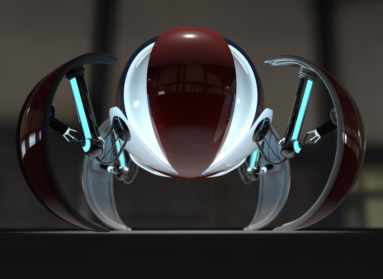 3D render ominous looking red metal spheric droid with four legs