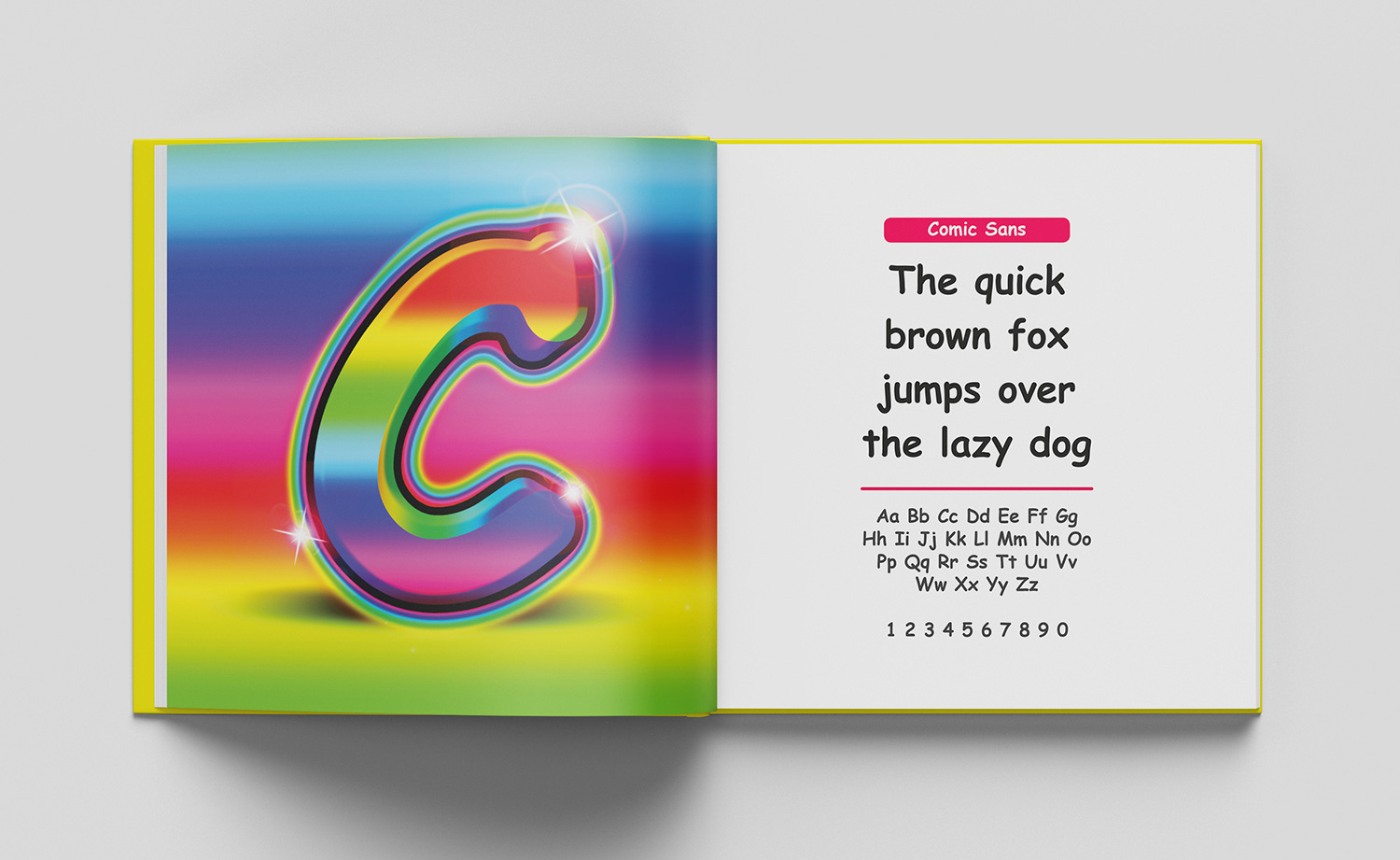 ABC of typography book spread letter C made from very ugly gradients, drop shadows and shine effects