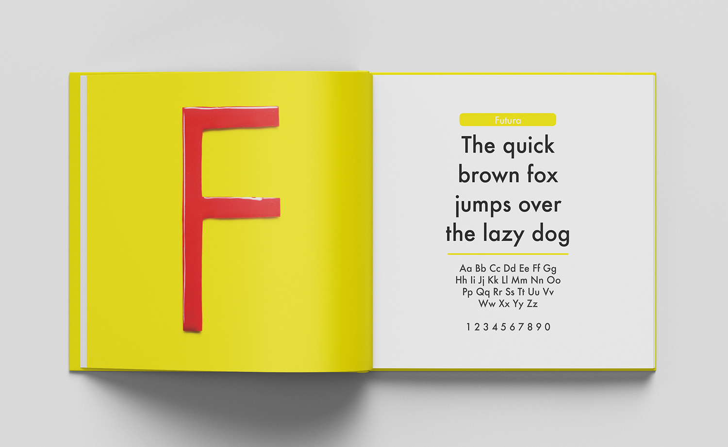 ABC of typography book spread letter F made from shiny red plastic on yellow surface