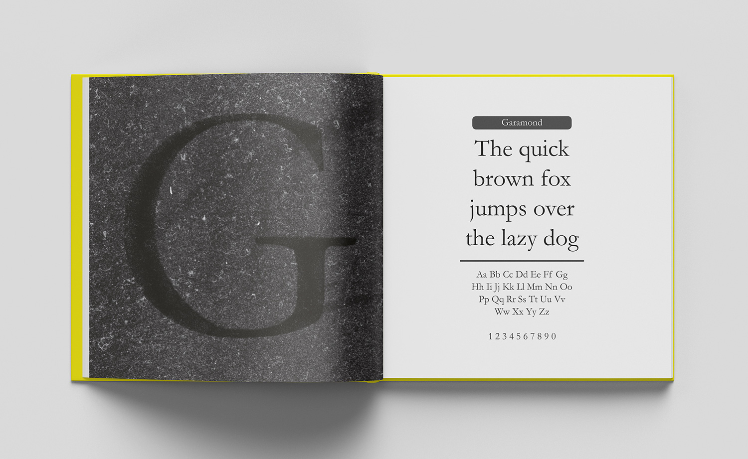 ABC of typography book spread letter G made from whiping off the shpe of a dusty glassplate
