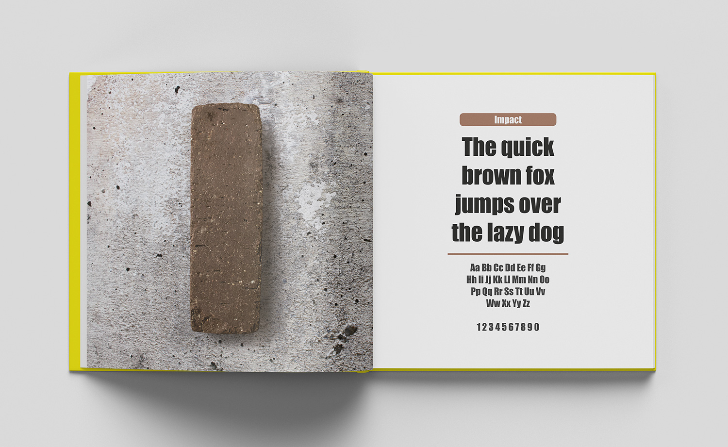 ABC of typography book spread letter I made from a long brick on a brick surface