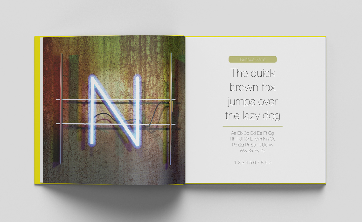 ABC of typography book spread letter N made from neon light on a grunge backdrop