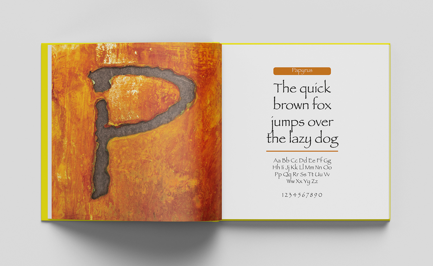ABC of typography book spread letter P made from cutout of a rusted metal plate