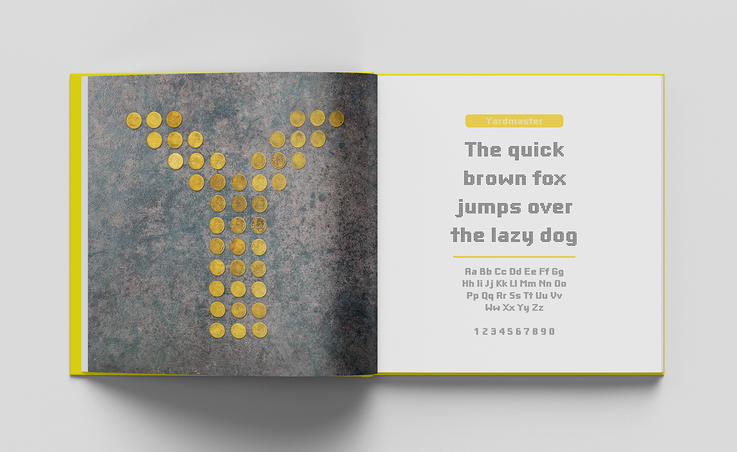 ABC of typography book spread letter Y made with euro coins