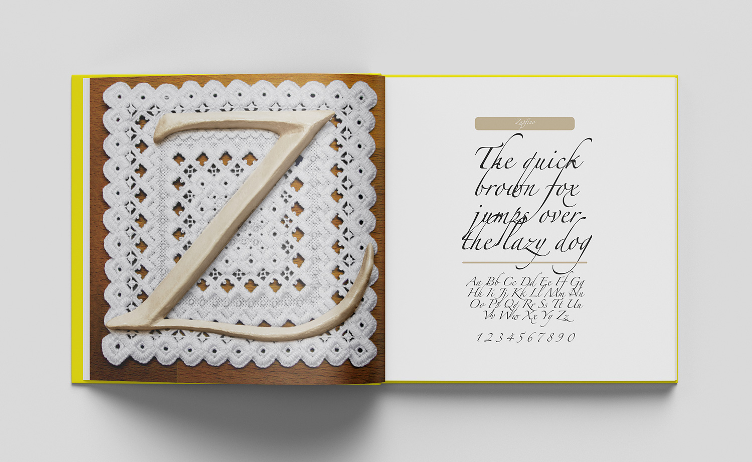 ABC of typography book spread letter Z made of ceramics on old fashioned cloth