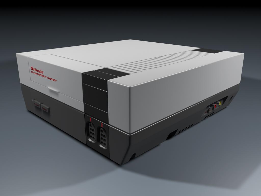 3D render photorealistic Nintendo NES console