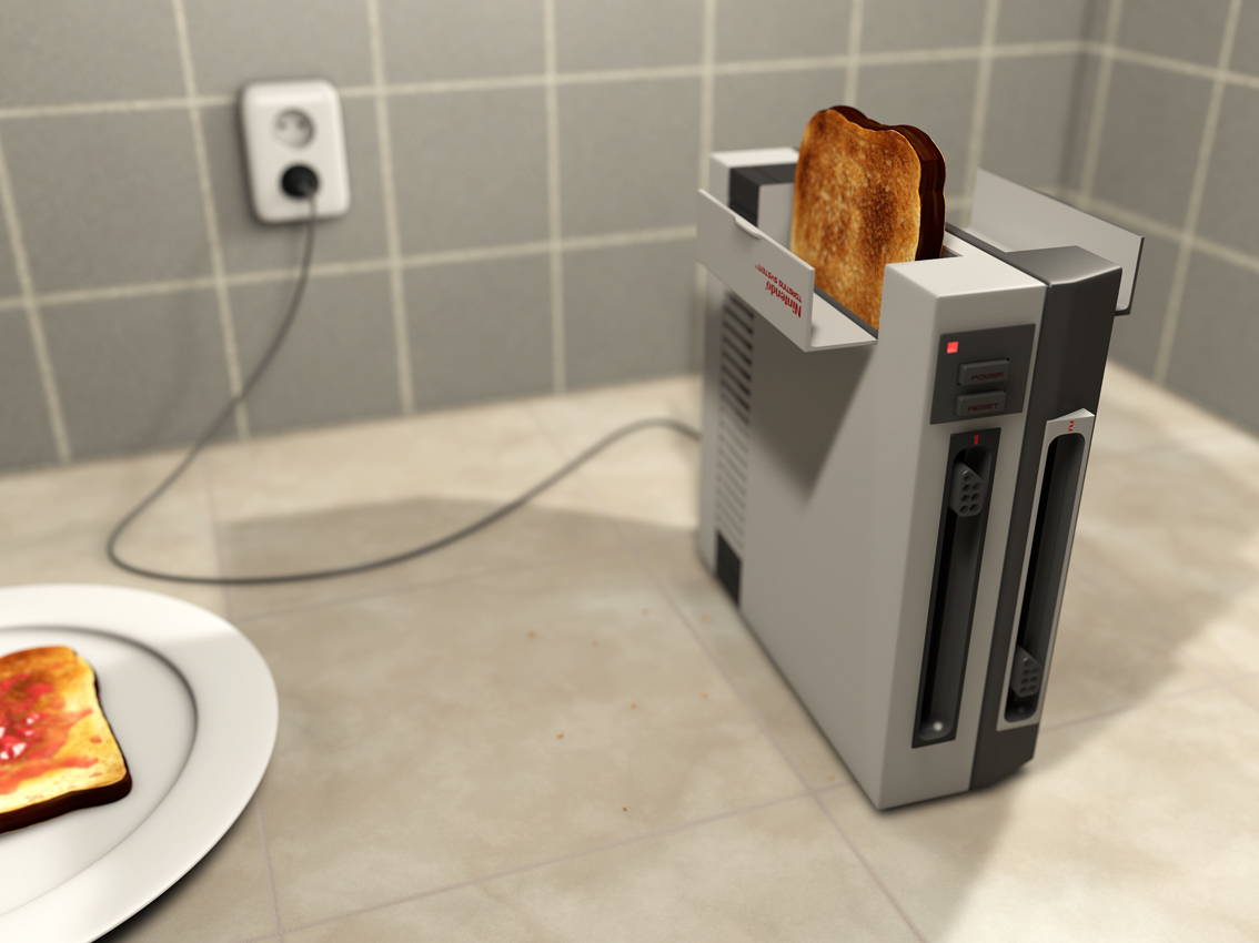 3D render of a nintendo Nes console turned into a toaster that's making toast